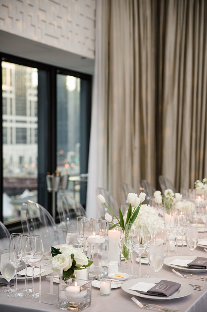 Gray and white wedding decor with tulips