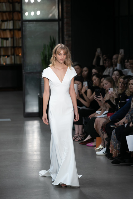 Amsale Cap Sleeve V-Neck Wedding Dress SQN Events by Collin Pierson Photography
